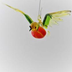 Glas Rotkehlchen fliegend...