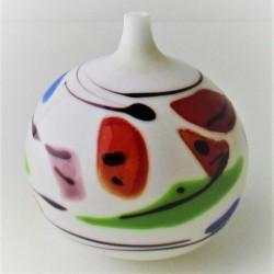 Glas Vase weiss - bunt  R....