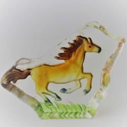Glas Brocken mit Pferd Figur