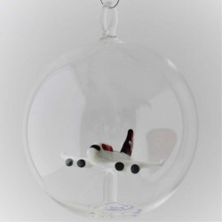 Glaskugel mit Glas Flugzeug...