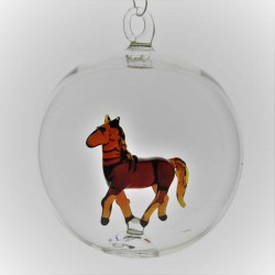 Glaskugel 80 mm Pferd innen...