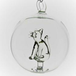Glaskugel 65 mm Katze innen...