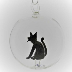 Glaskugel 80 mm Katze innen...