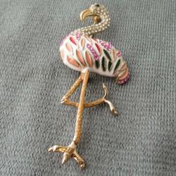 Brosche Flamingo Emaile...