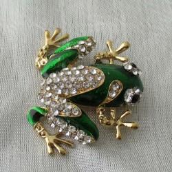 Brosche Frosch Emaile grün,...