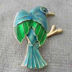 Brosche Vogel Emaile blau...