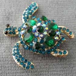 Schildkröte Brosche grün...