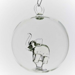 Glaskugel mit Glas Elefant...