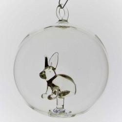 Glaskugel mit Glas Hase...