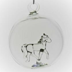 Glaskugel mit Glas Pferd...