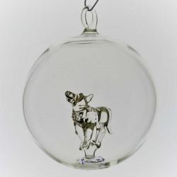 Glaskugel mit Glas Wolf...