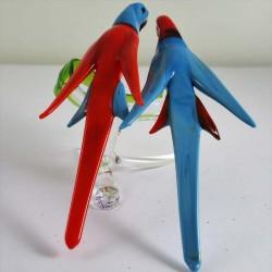 Glas Papageien paar auf Ast...