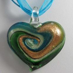 Herz grün Kette  Muranoglas