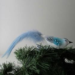 kleiner Vogel blau mit...