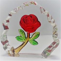 Rote Rose im Glasblok