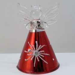 Glas Engel 80mm rot-klar...